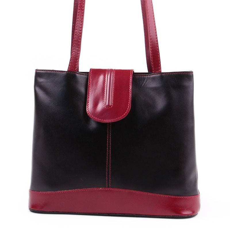 Fekete-piros olasz bőr női táska  2368 404c9e1d6d