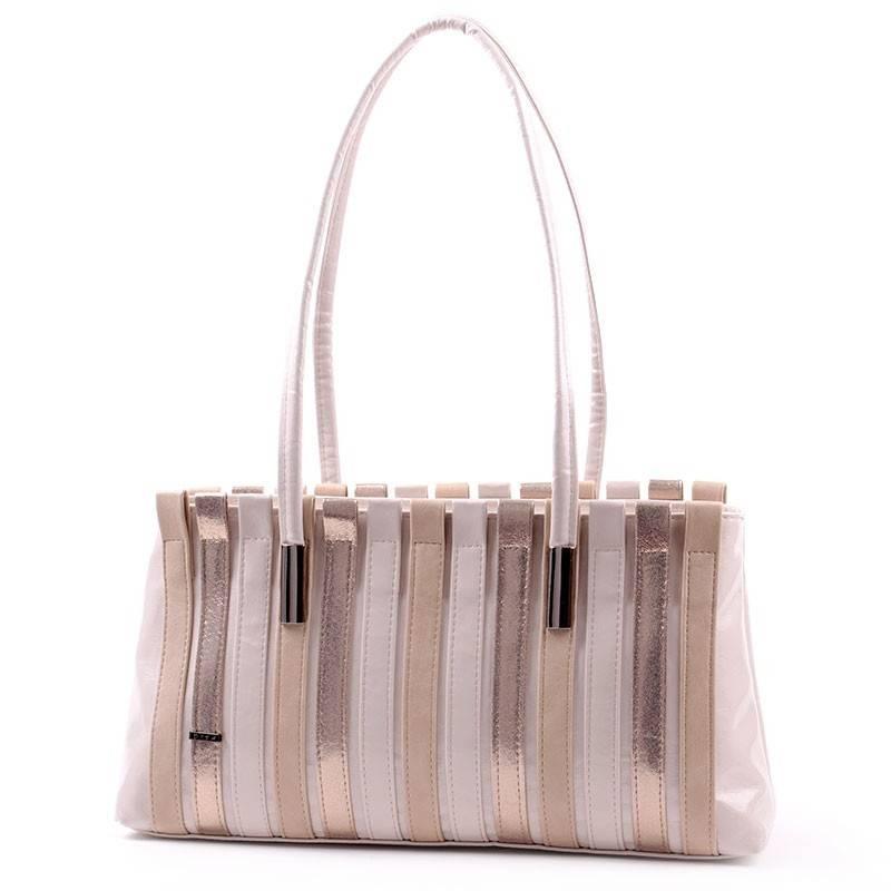 9d92a1f557bb Diva Collection bézs-barna-arany női rostbőr táska #2740