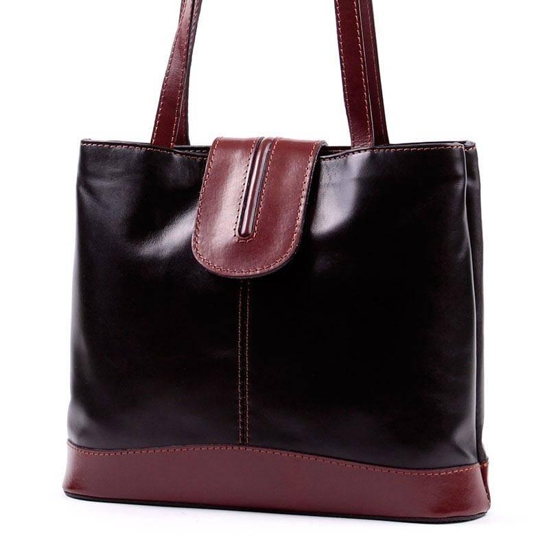 08f943a1530f Fekete-barna olasz bőr női táska #2754