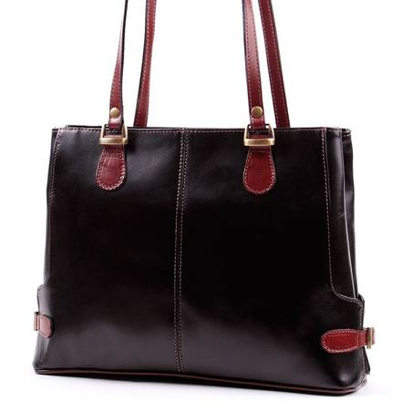 Fekete-barna női olasz bőr táska