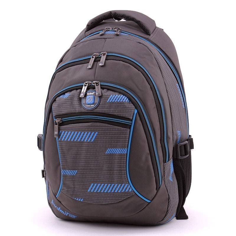 Budmil szürke-kék laptoptartós hátizsák