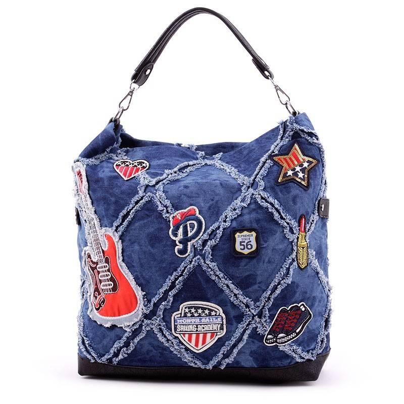 Lida nagy méretű kék farmer táska  2894 4d55351746