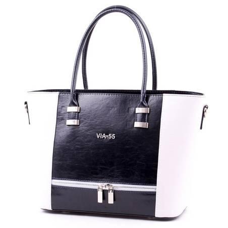 Via55 kék-fehér rostbőr női táska