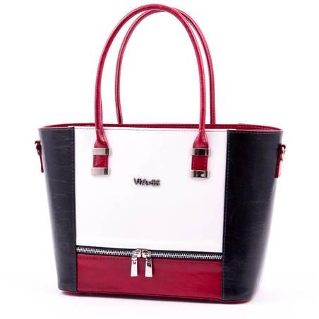Via55 fehér-piros-kék rostbőr női táska