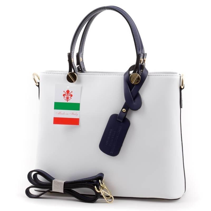 Fehér-kék olasz bőr női táska  2730 1191239428