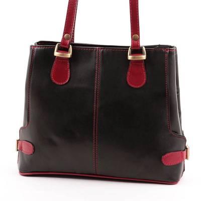 Fekete-bordó női bőr táska