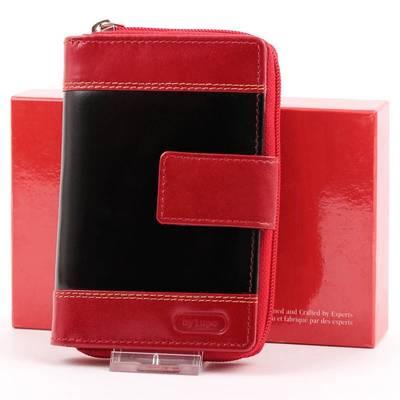Piros-fekete női bőr pénztárca