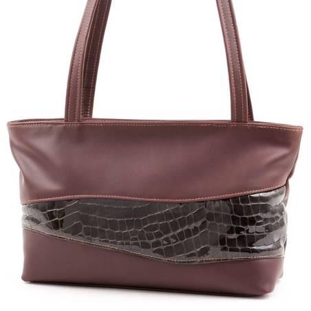 Barna-fekete női bőr táska