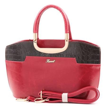 Karen piros-fekete merev falú női rostbőr táska