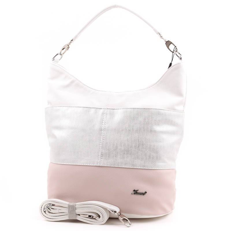 03ed40ecfea6 Karen fehér-ezüst-púder rostbőr női táska #3505