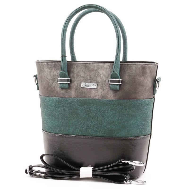 Karen fekete-zöld-ezüst rostbőr női táska
