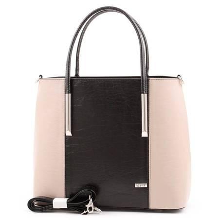 Via55 fekete-kávébarna rostbőr női táska