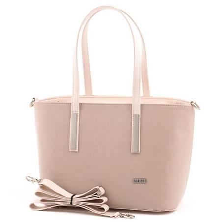 Via55 világos kávébarna-bézs rostbőr női táska
