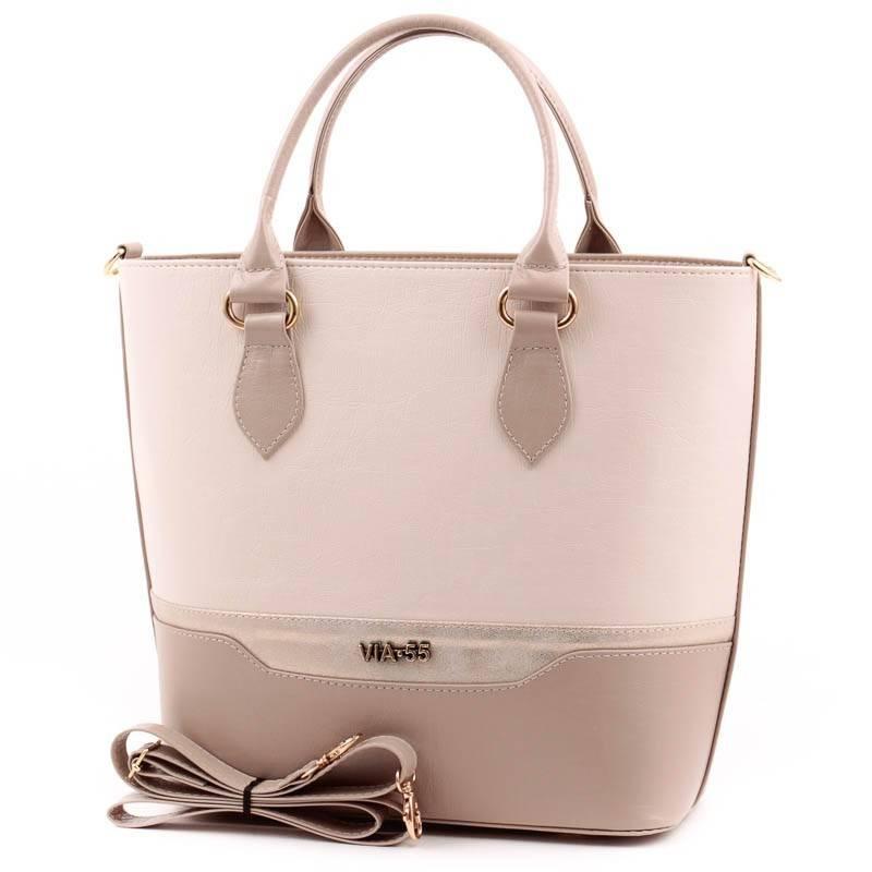 Via55 kávébarna-bézs rostbőr női táska