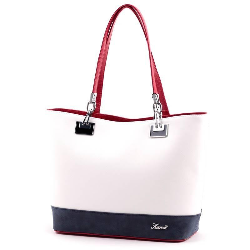 db128bbc35 Karen fehér-piros-kék rostbőr női táska #3667