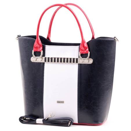 Via55 kék-fehér-piros rostbőr női táska