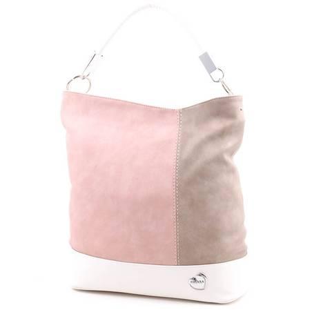 Chiara púder-barna-fehér rostbőr női táska