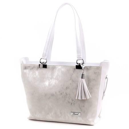 Karen ezüst-fehér rostbőr női táska