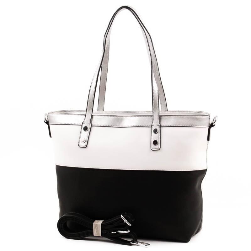 Lida fekete-fehér-ezüst női táska