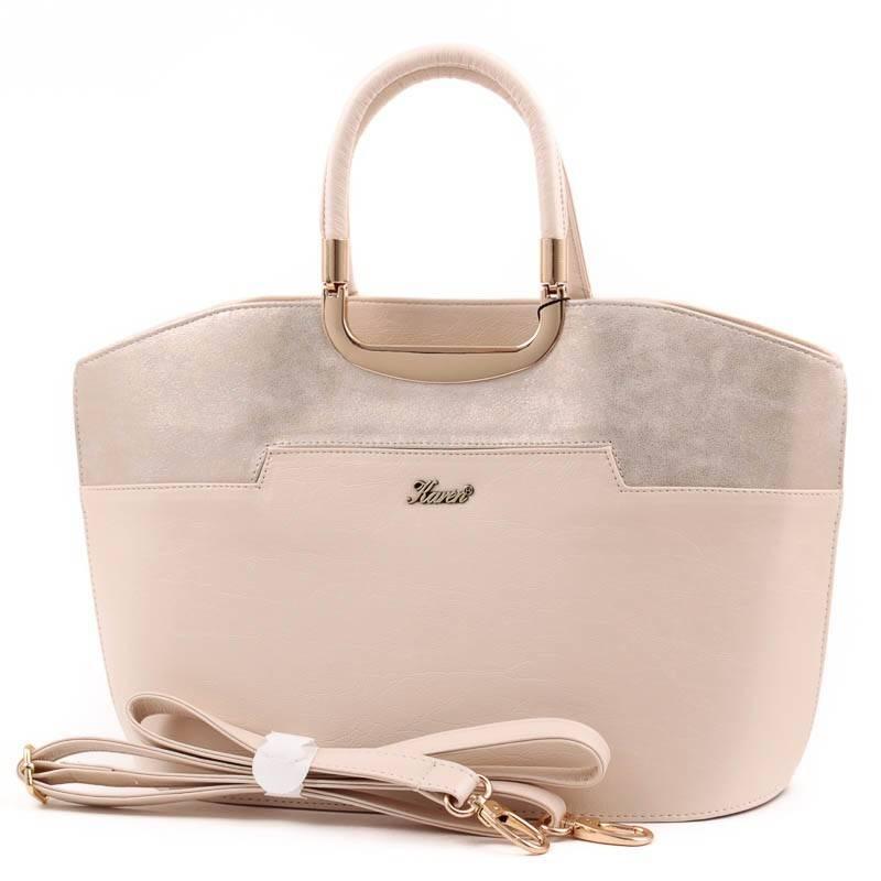 Karen bézs-arany merev falú női rostbőr táska