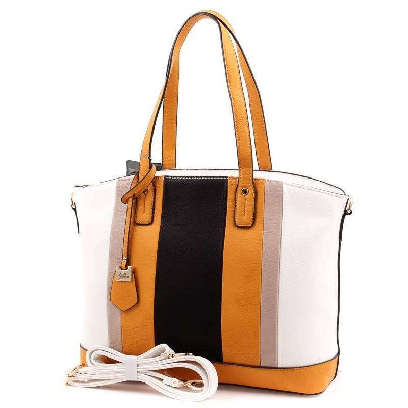 8535555629 Dudlin fehér-sárga-fekete női táska #3814