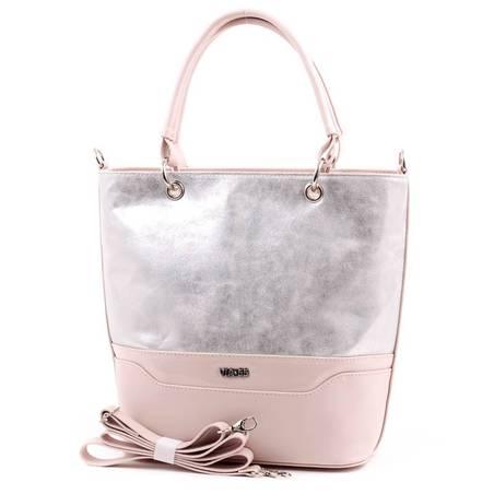 Via55 ezüst-púder rostbőr női táska