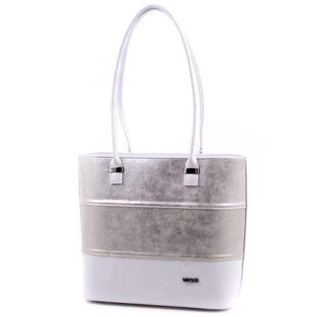 Via55 fehér-ezüst rostbőr női táska
