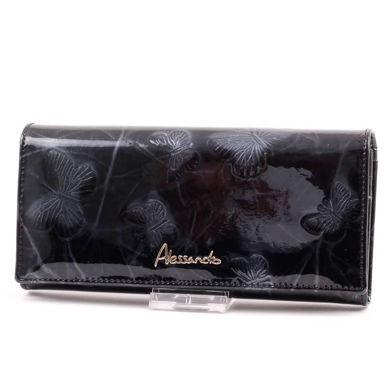 Alessandro Paoli fekete lepkés női bőr pénztárca