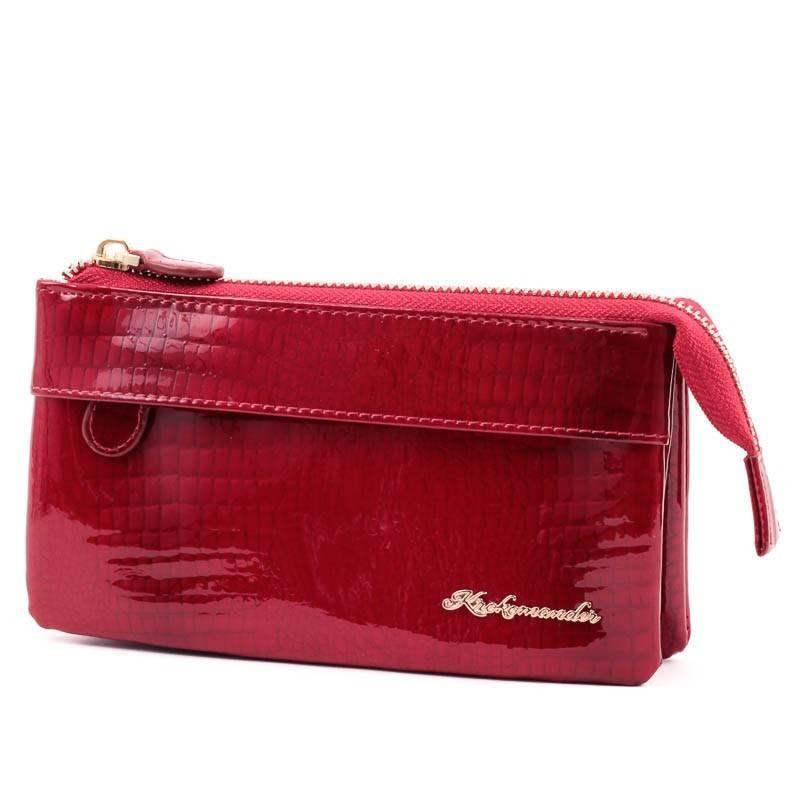 Krokomander piros női bőr pénztárca