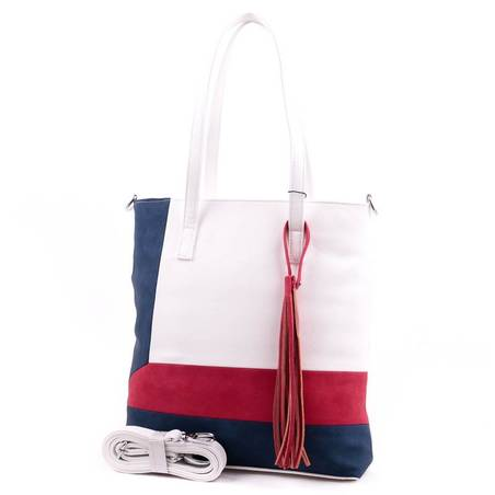 Karen fehér-piros-kék rostbőr női táska