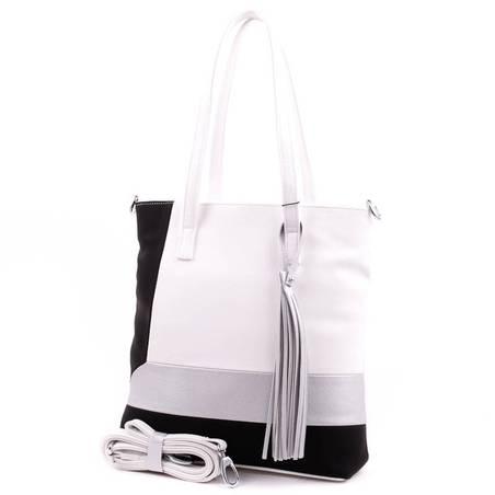 Karen fehér-fekete-ezüst rostbőr női táska