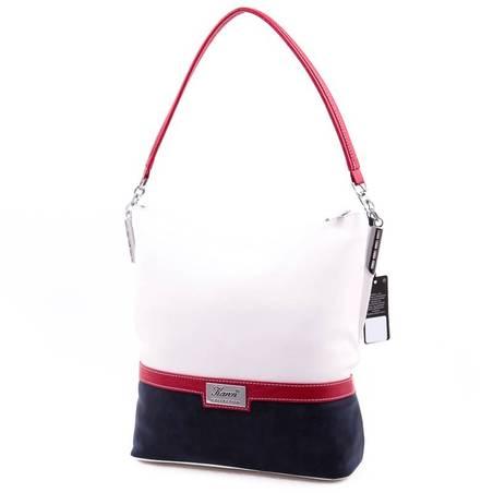 Karen fehér-kék-piros női rostbőr táska