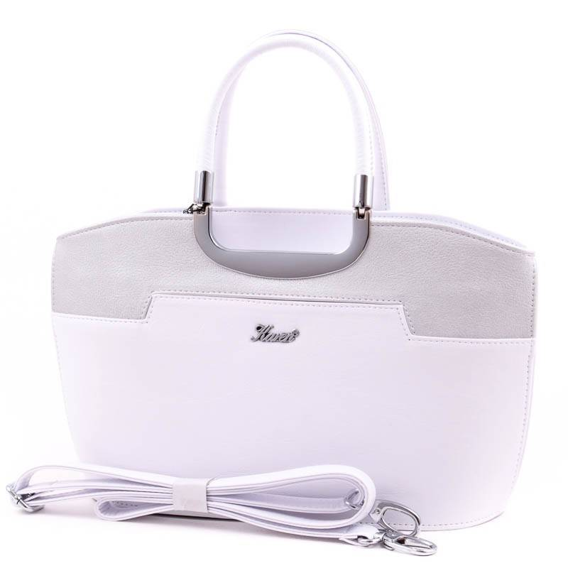 Karen fehér-ezüst merev falú női rostbőr táska