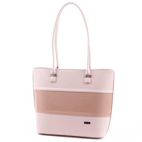 Via55 bézs-kávébarna rostbőr női táska