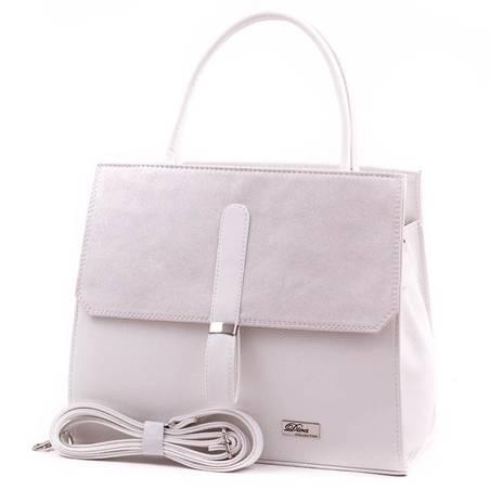 Diva Collection fehér-ezüst női rostbőr táska