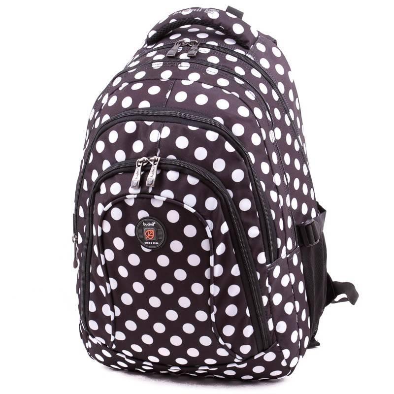 Budmil fekete-fehér pöttyös laptoptartós hátizsák