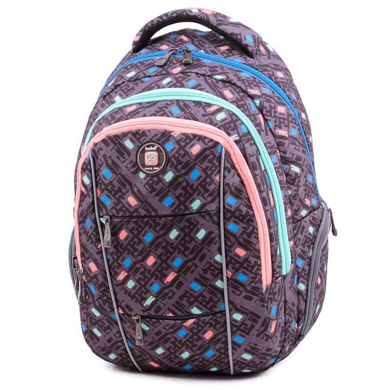 Budmil szürke mintás laptoptartós hátizsák