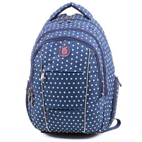 Budmil kék pöttyös laptoptartós hátizsák