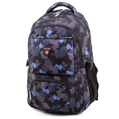 Auking fekete-kék mintás laptoptartós hátizsák