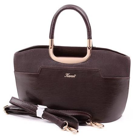 Karen barna merev falú női rostbőr táska