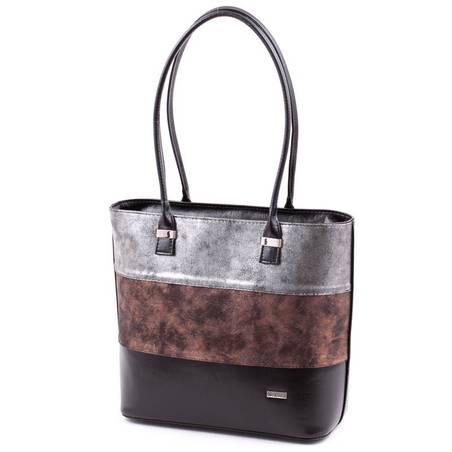 Via55 fekete-bronz-ezüst rostbőr női táska