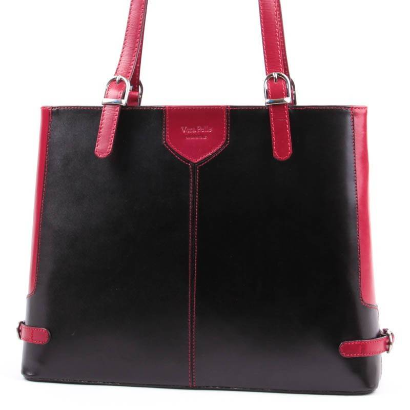Fekete-piros női bőr táska