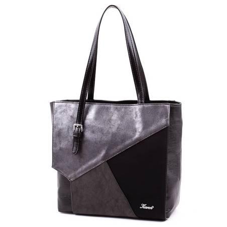 Karen fekete-ezüst színű rostbőr női táska