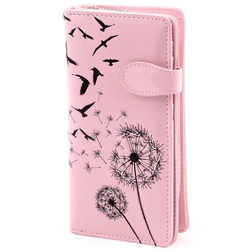 Shagwear rózsaszín pitypang mintás pénztárca