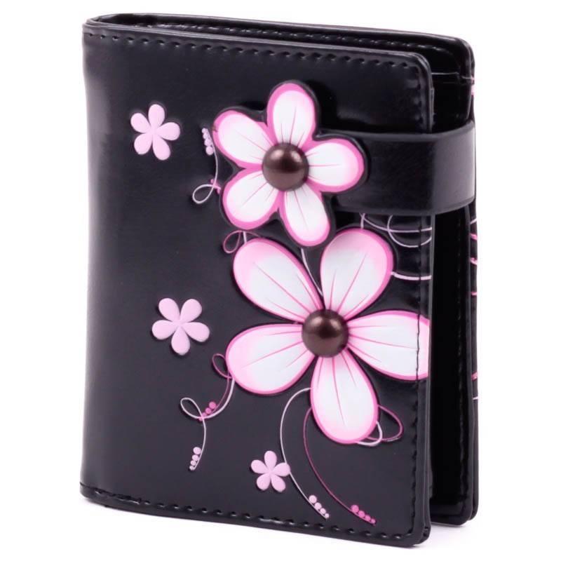 Shagwear fekete-pink virág mintás pénztárca