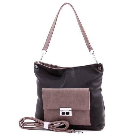 Karen fekete-barna női rostbőr táska