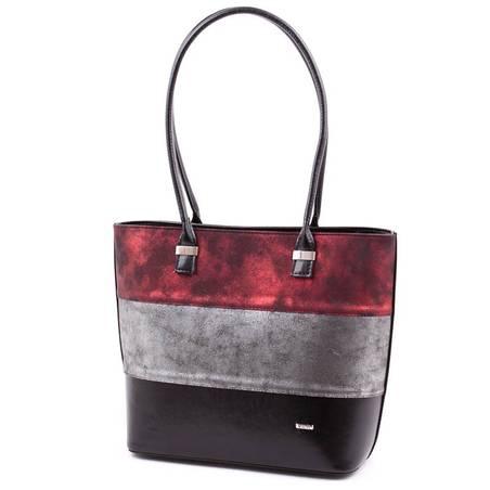 Via55 bordó-ezüst-fekete rostbőr női táska