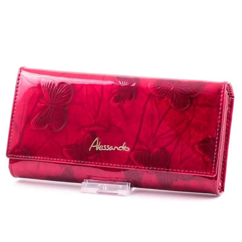 Alessandro Paoli piros lepkés női bőr pénztárca