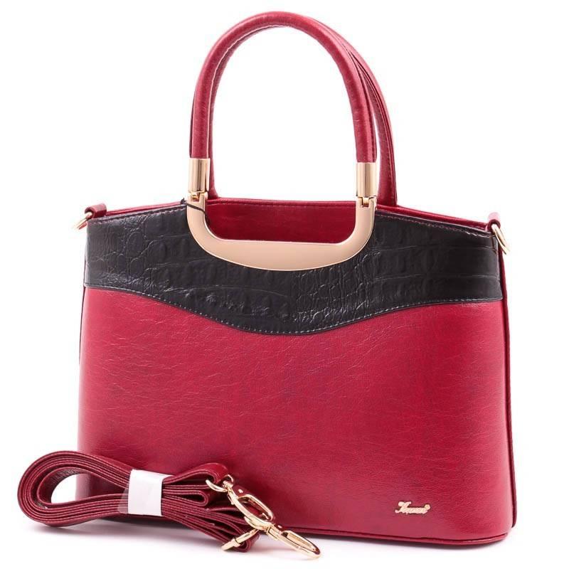 Karen bordó-fekete merev falú női rostbőr táska
