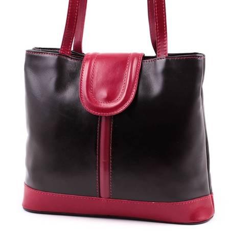 Fekete-piros olasz bőr női táska